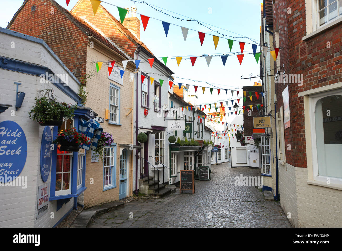 Quay Hill and Quay Street in Lymington Hampshire on the edge of the New Forest - Stock Image