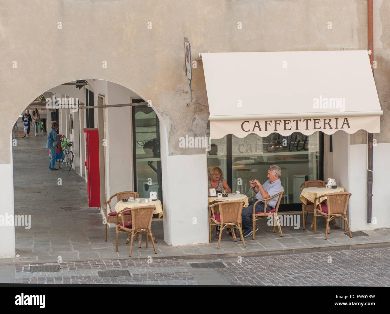 Coffee shop in the old town of Monselice, Veneto, Italy - Stock Image