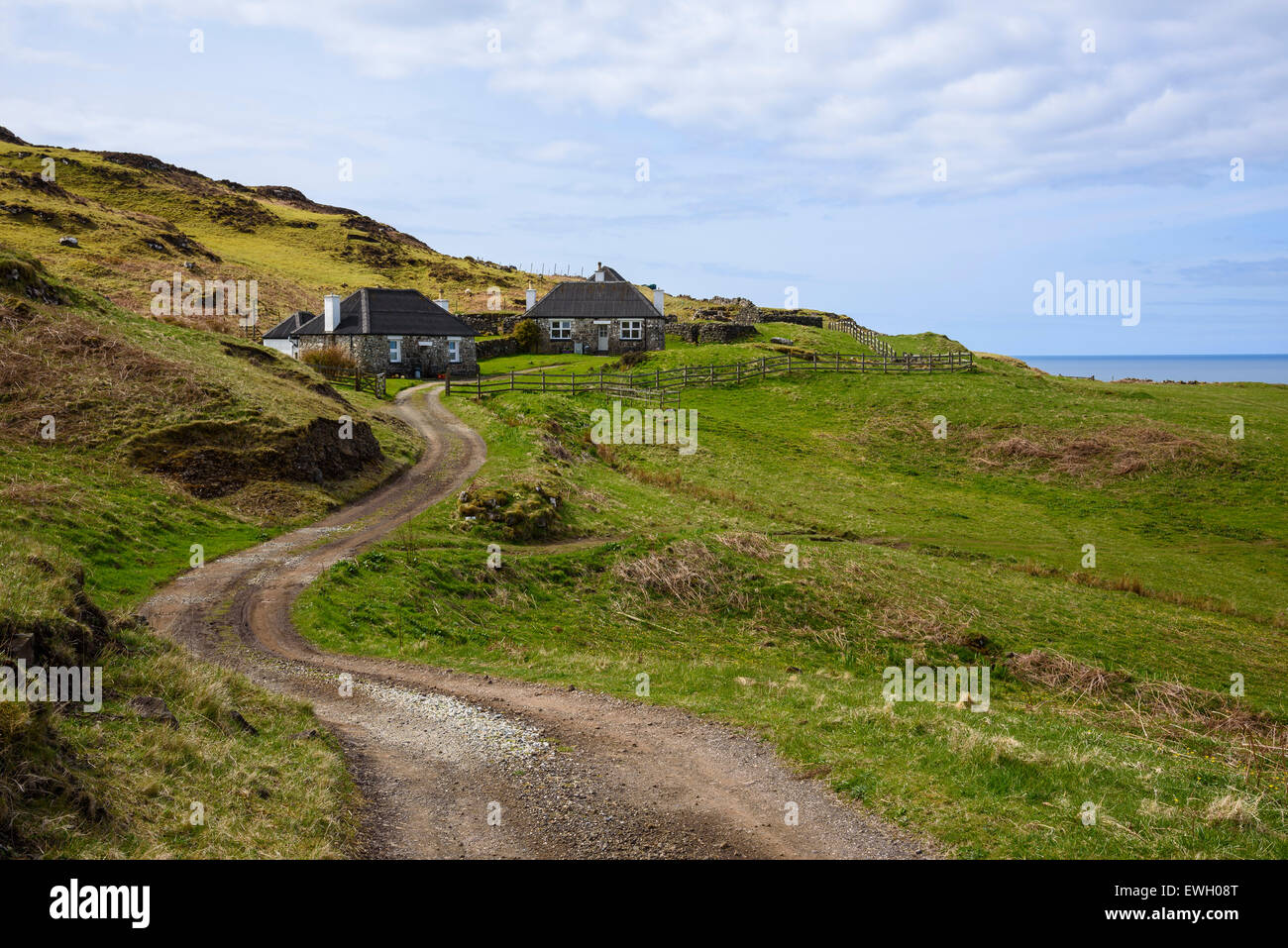 Traditional cottages, near Treshnish Point, Isle of Mull, Hebrides, Argyll and Bute, Scotland - Stock Image