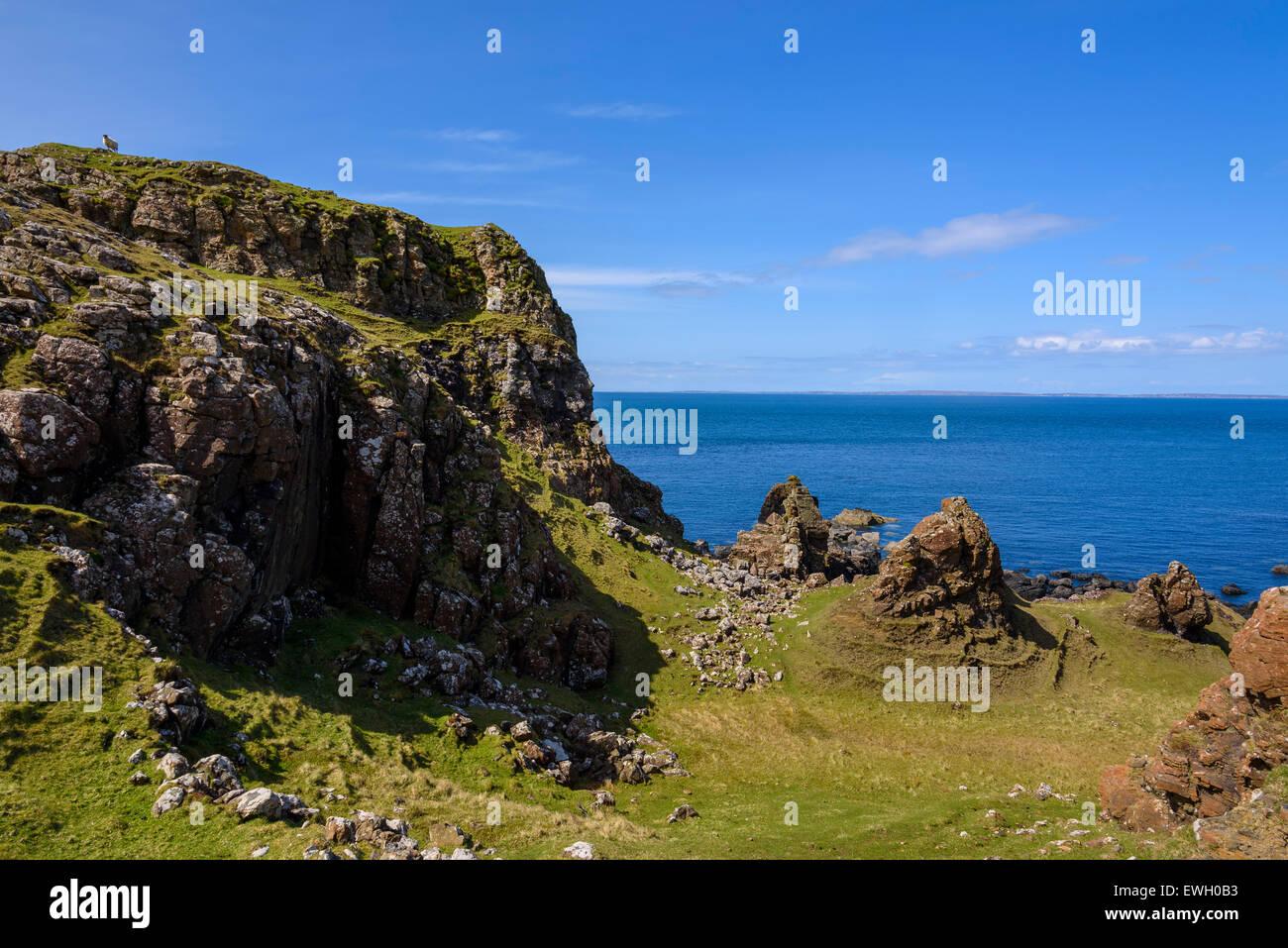 Cliffs around Treshnish Point, Isle of Mull, Hebrides, Argyll and Bute, Scotland - Stock Image
