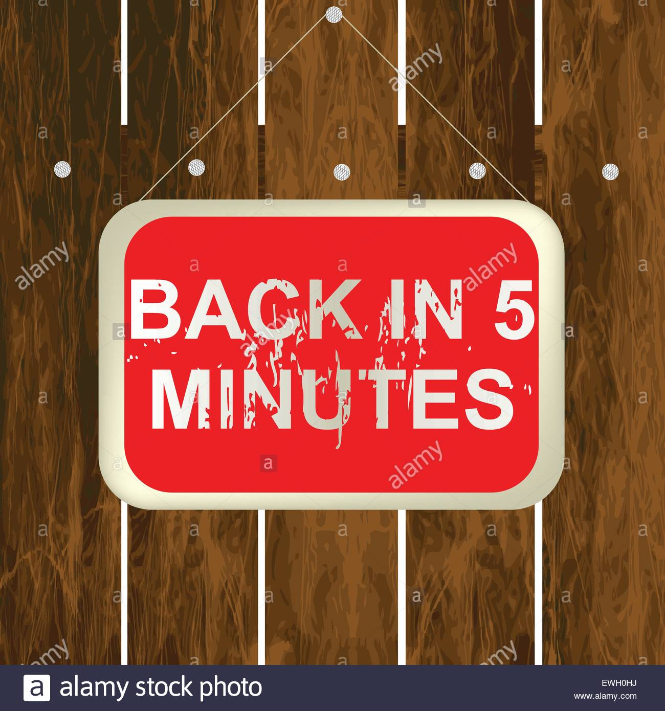 Back in 5 minutes sign hanging on a wooden fence - Stock Vector