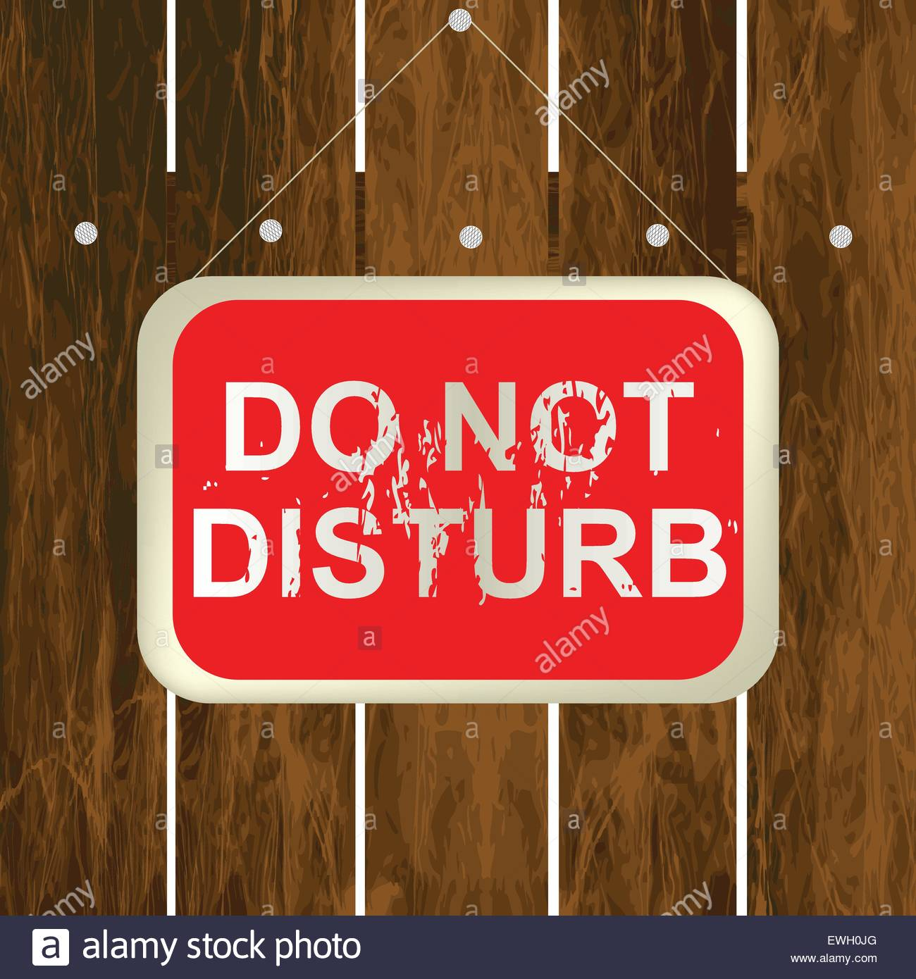 DO NOT DISTURB sign hanging on a wooden fence - Stock Vector