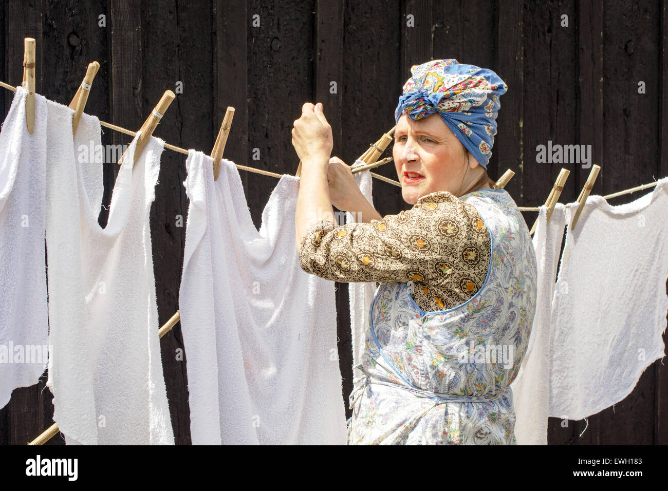 A woman dressed in the style of a 1940's (WW2) housewife hangs out washing on a clothes line. - Stock Image