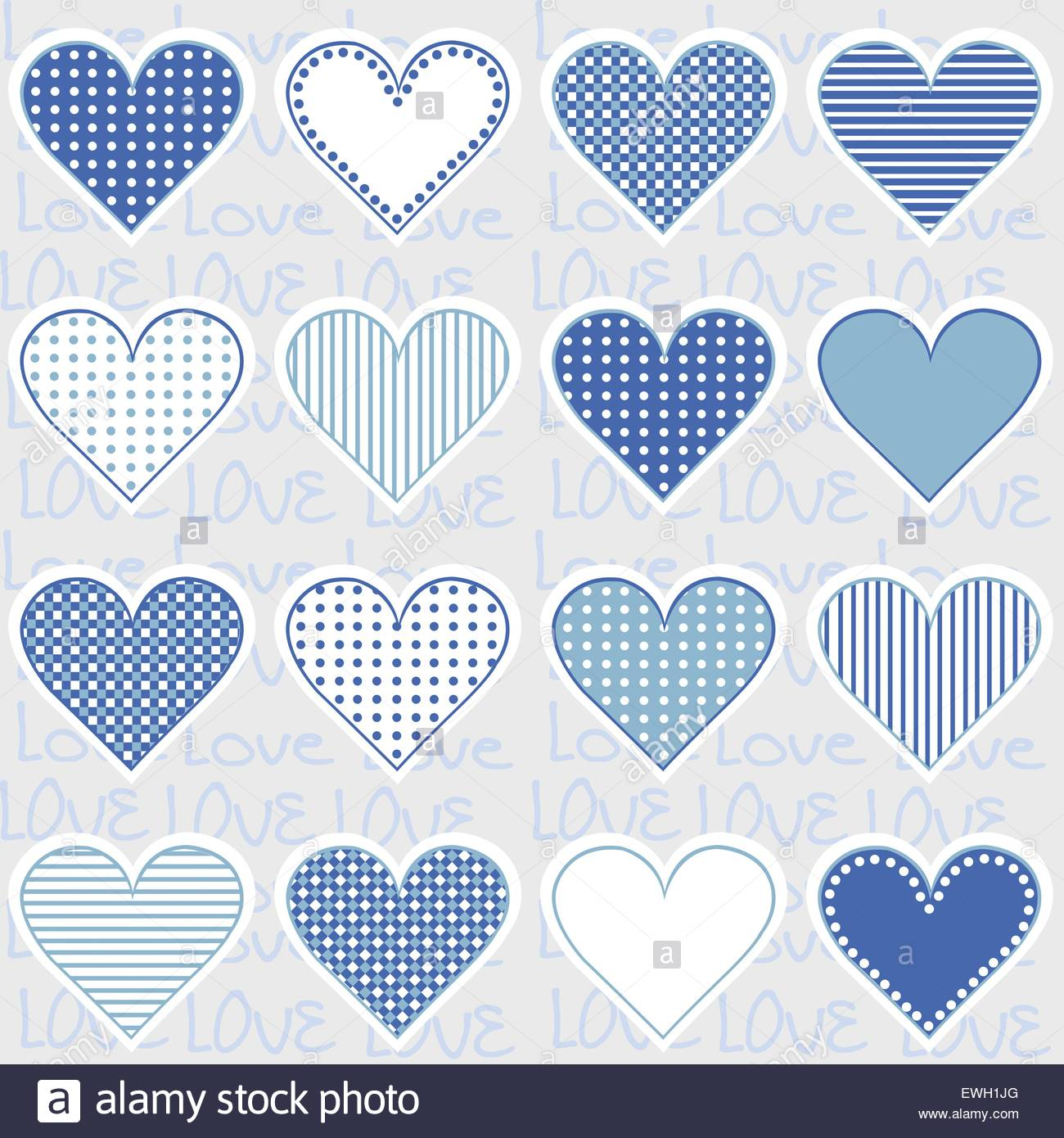 Love background with heart frames on blue, pattern for baby boy ...