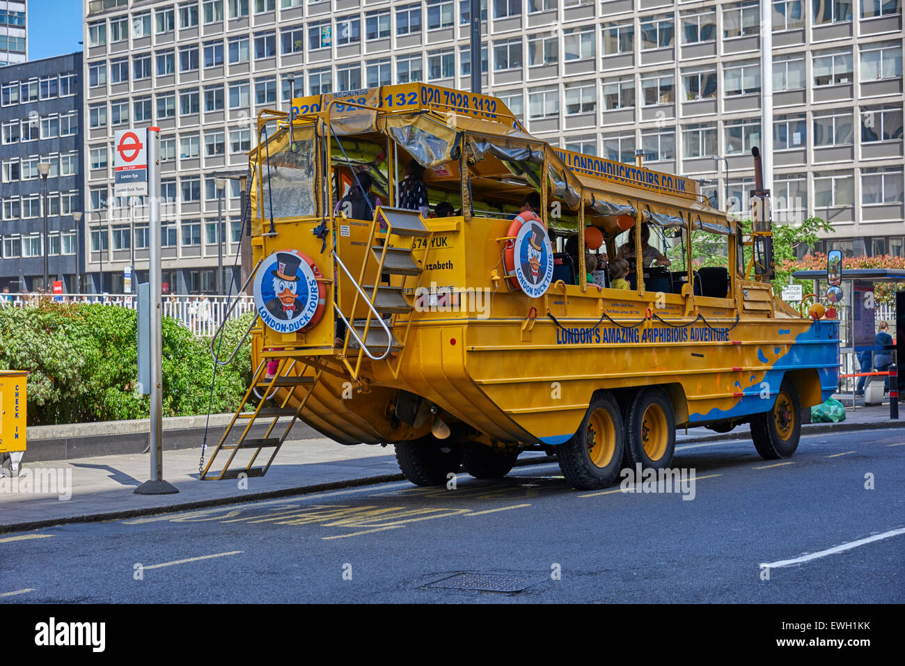 London Duck Tours on the Thames - Stock Image