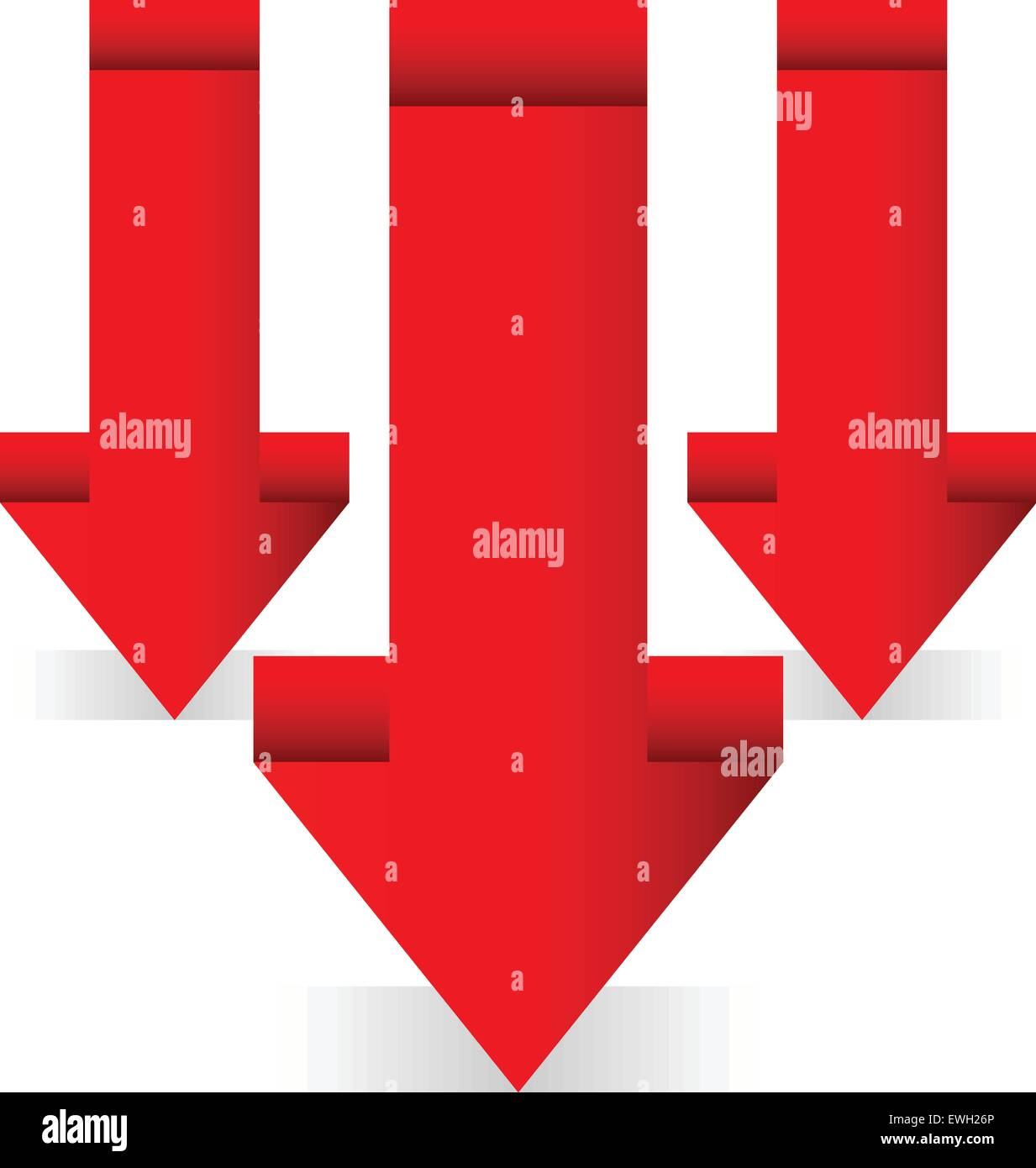 3d Red arrows, downward arrows. - Stock Vector