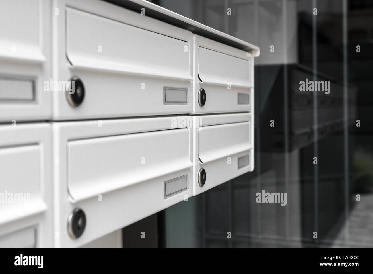 Mailboxes, with a modern design, positioned at the entrance