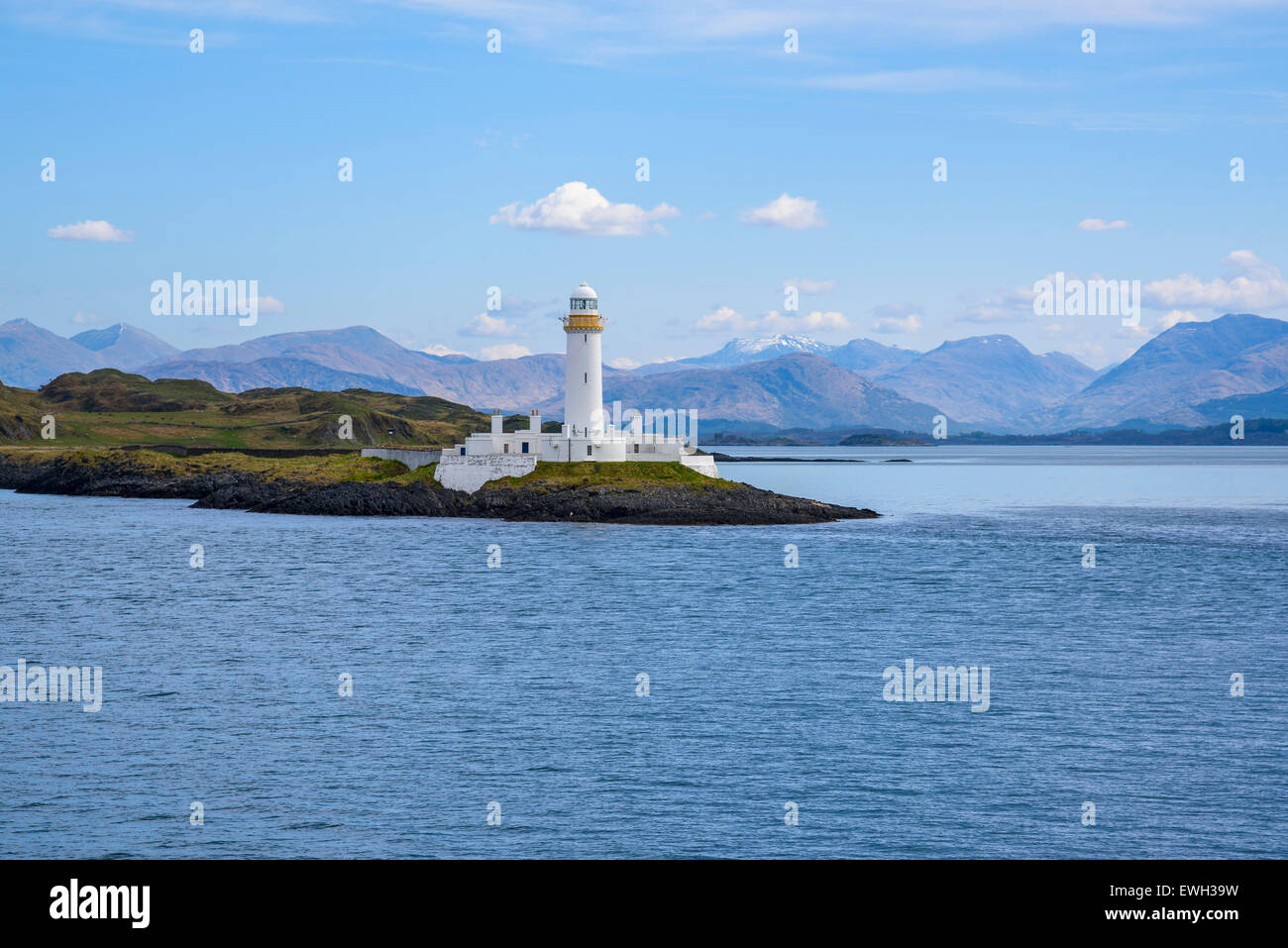 Lighthouse in Sound of Mull, Hebrides, Argyll and Bute, Scotland - Stock Image