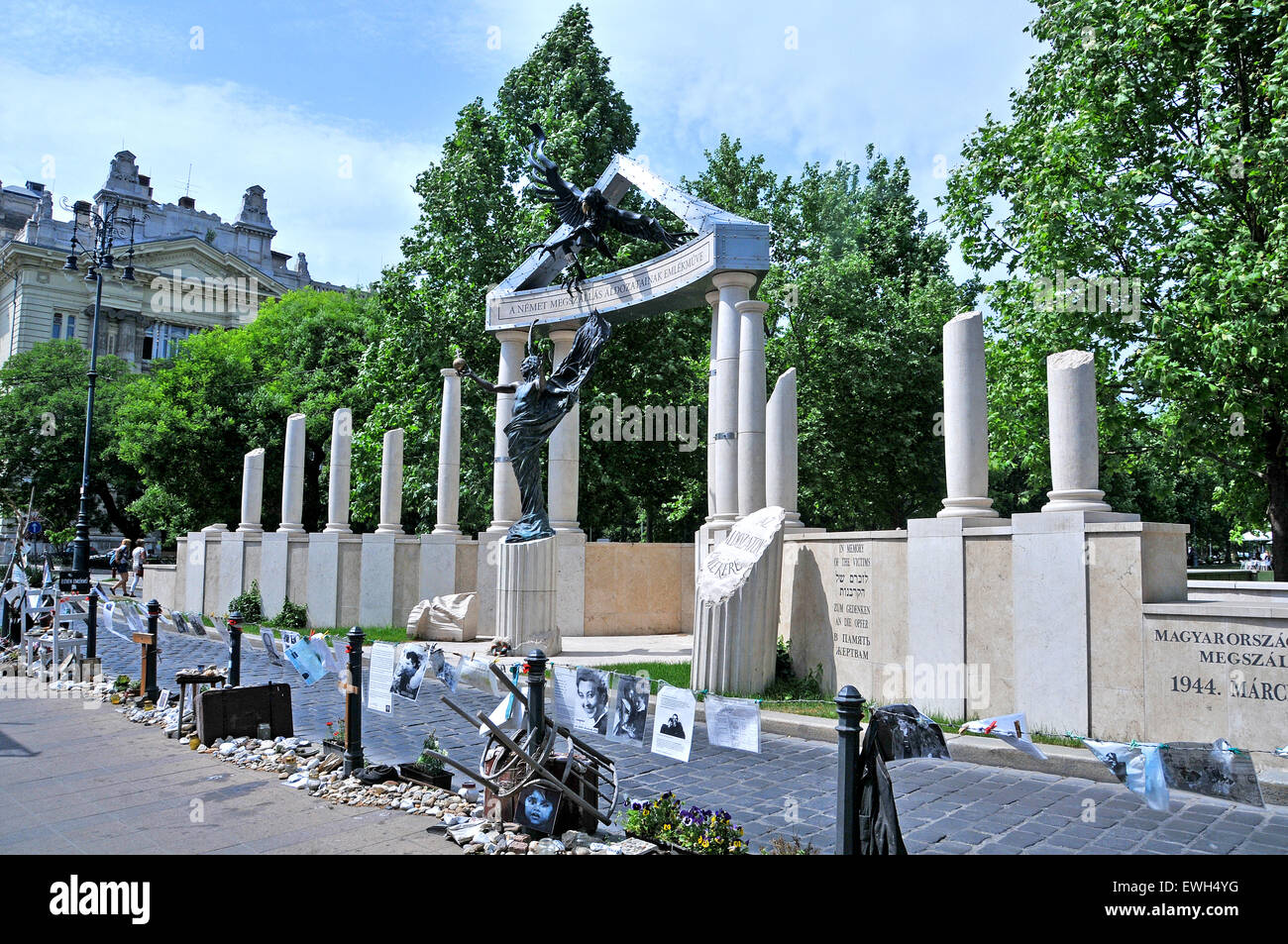 Monument commemorating the occupation of Hungary by Nazi Germany Budapest Hungary Stock Photo