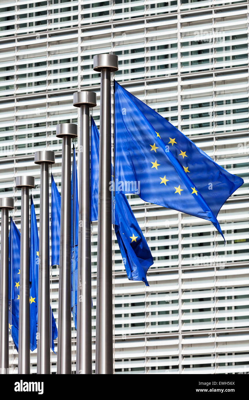 EU flags at European Commission in Brussels - Stock Image