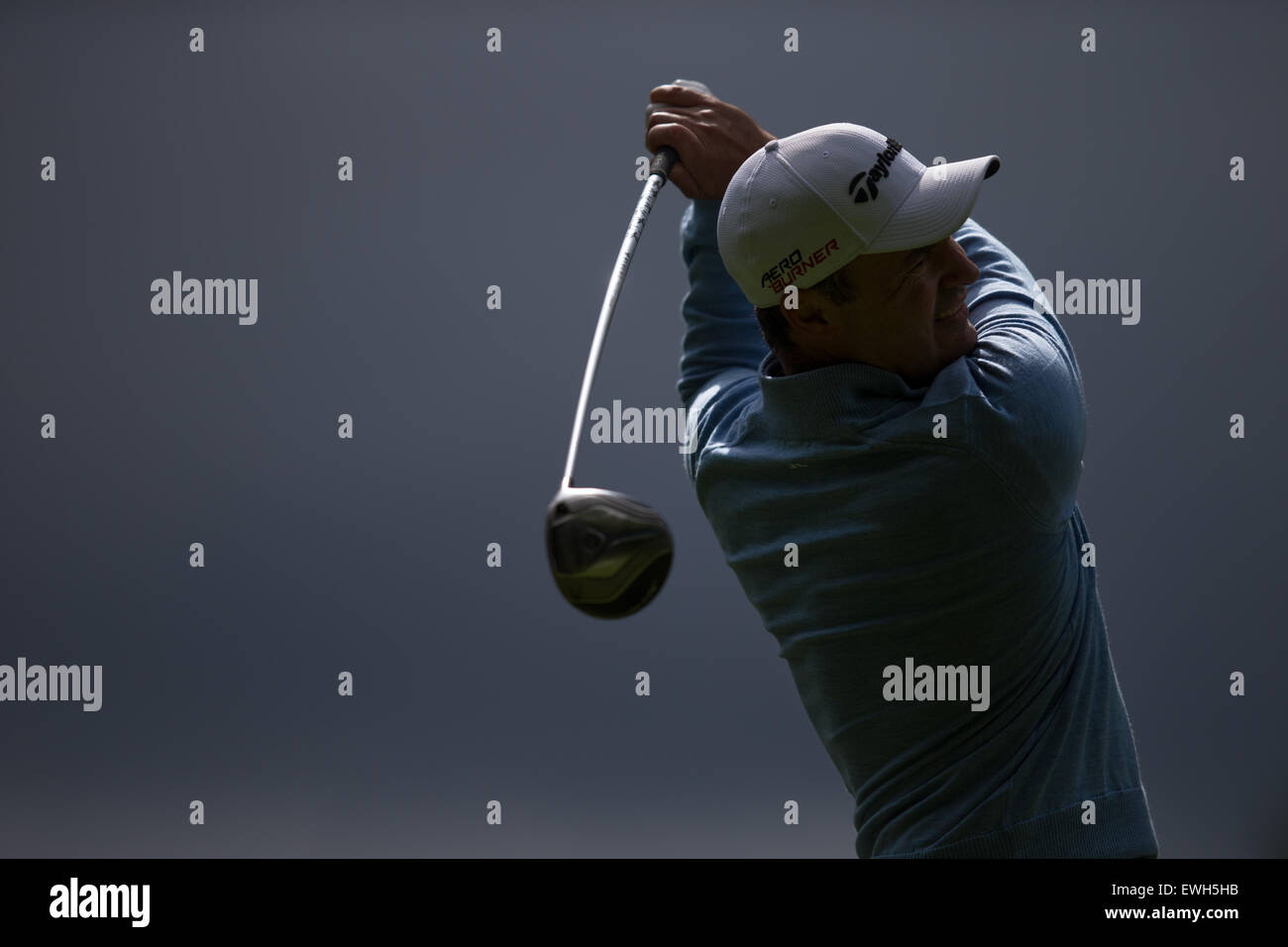 Simon Khan tees off at Wentworth during the BMW PGA Championship Pro-Am on  May 20, 2015. - Stock Image