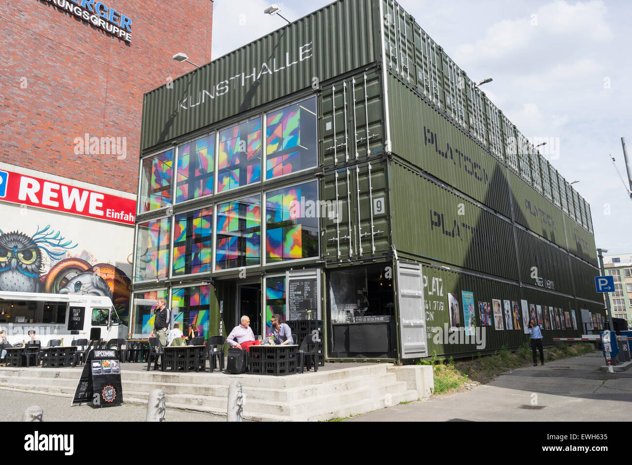 Platoon Kunsthalle art centre built from shipping containers in Prenzaluer Berg in Berlin Germany - Stock Image