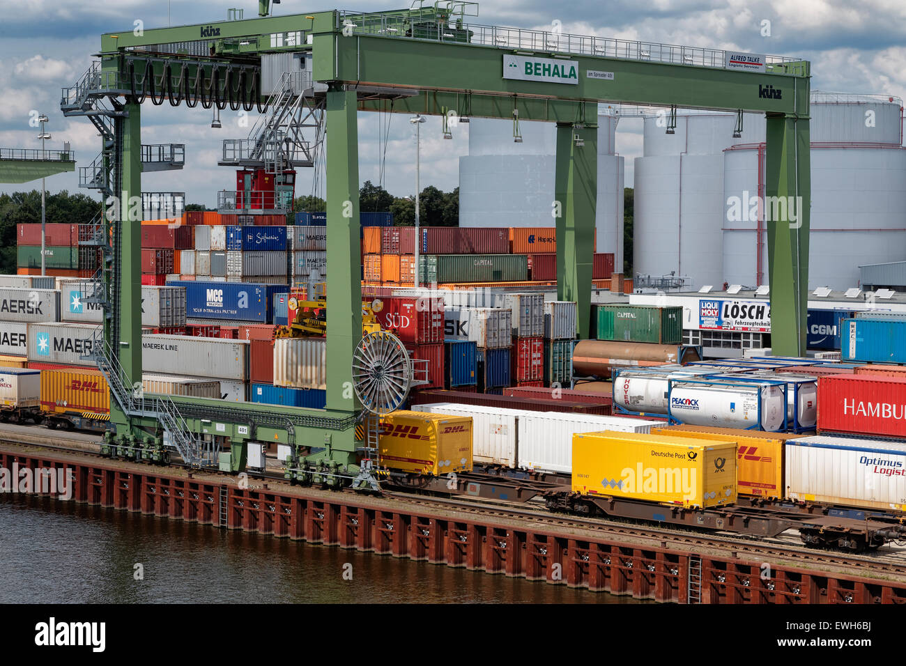 Berlin, Germany, overlooking the container terminal Westhafen Stock Photo
