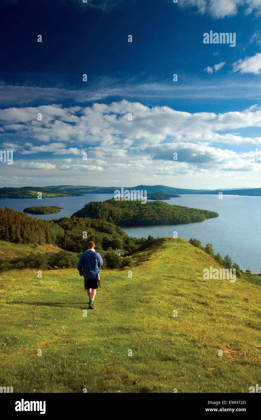 Loch Lomond and Inchcailloch from Druim nam Buaraich, Loch Lomond and the Trossachs National Park Stock Photo