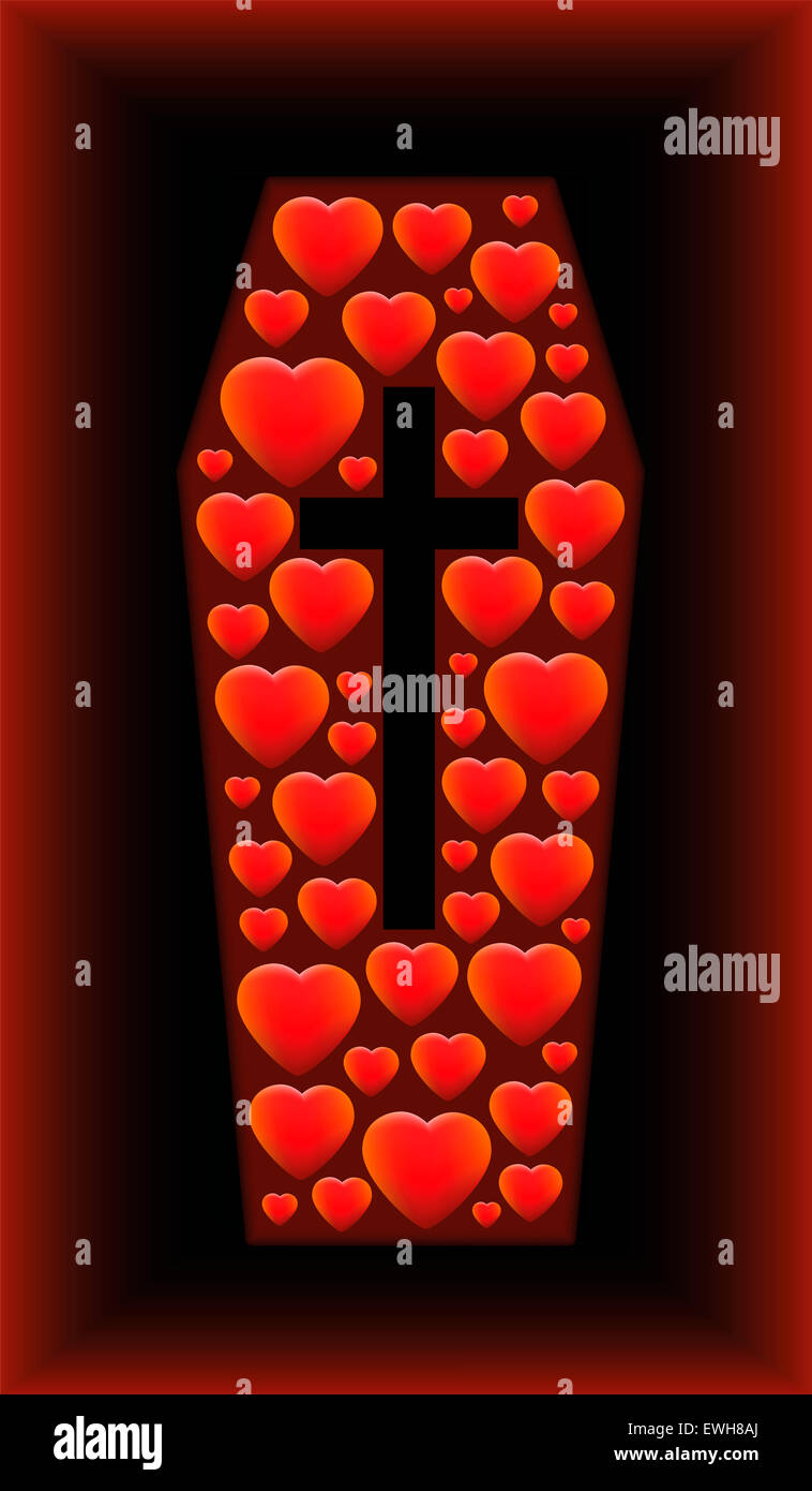 Coffin with hearts sinking in a grave as a symbol for love, sorrow, tragedy and other problems related to heart - Stock Image