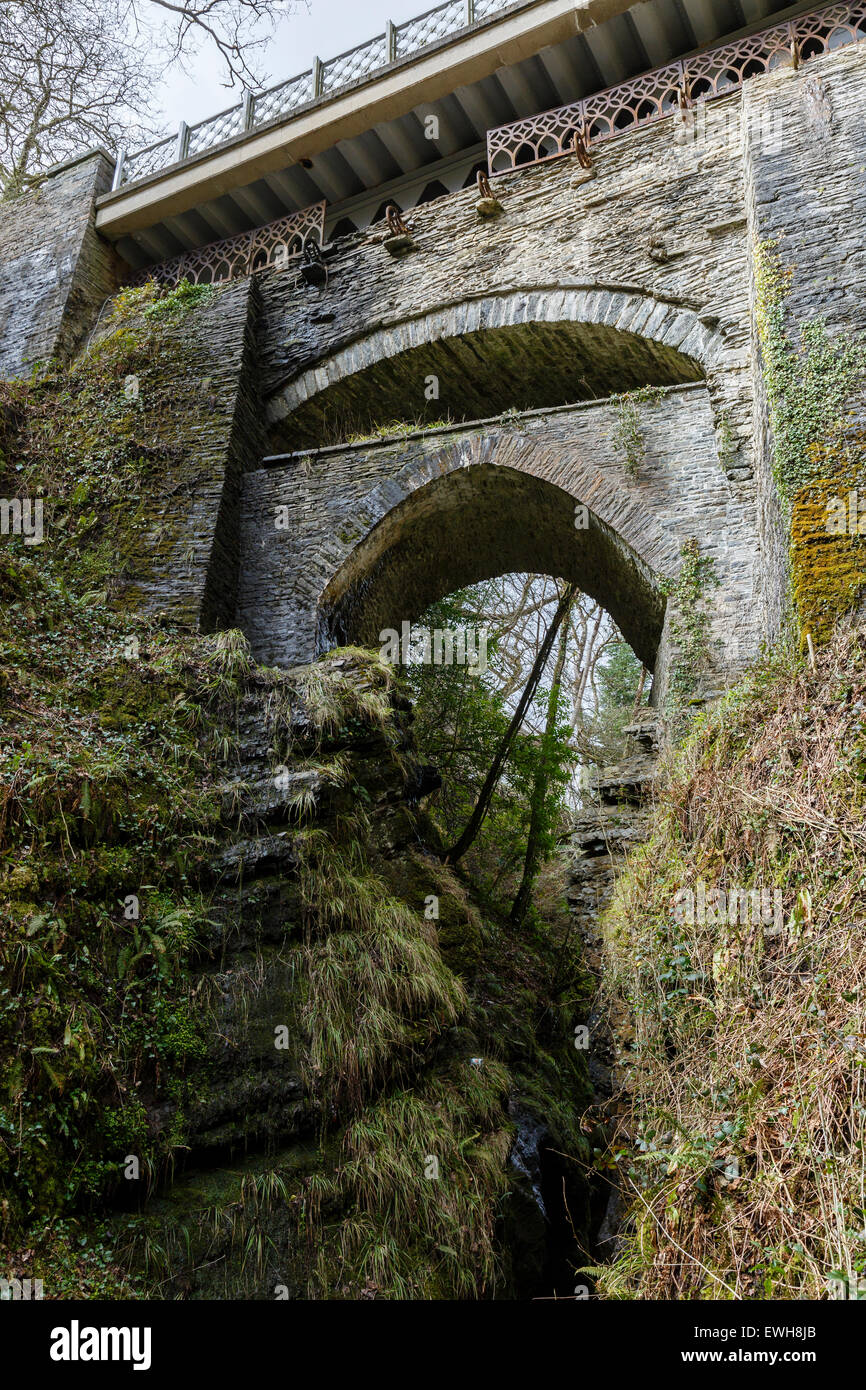 The Three Bridges, Devil's Bridge, Rheidol Valley, Ceredigion, Wales - Stock Image