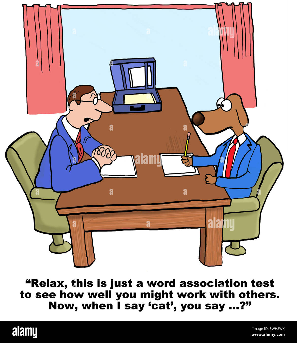 Business cartoon of personality test for employment, '... to see how well you work with others, when I say 'cat', - Stock Image