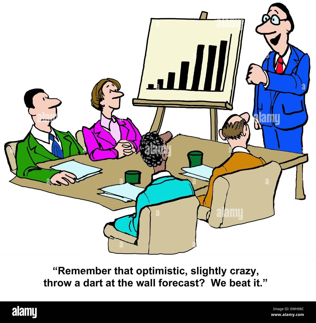 business cartoon of meeting chart showing increased sales and boss