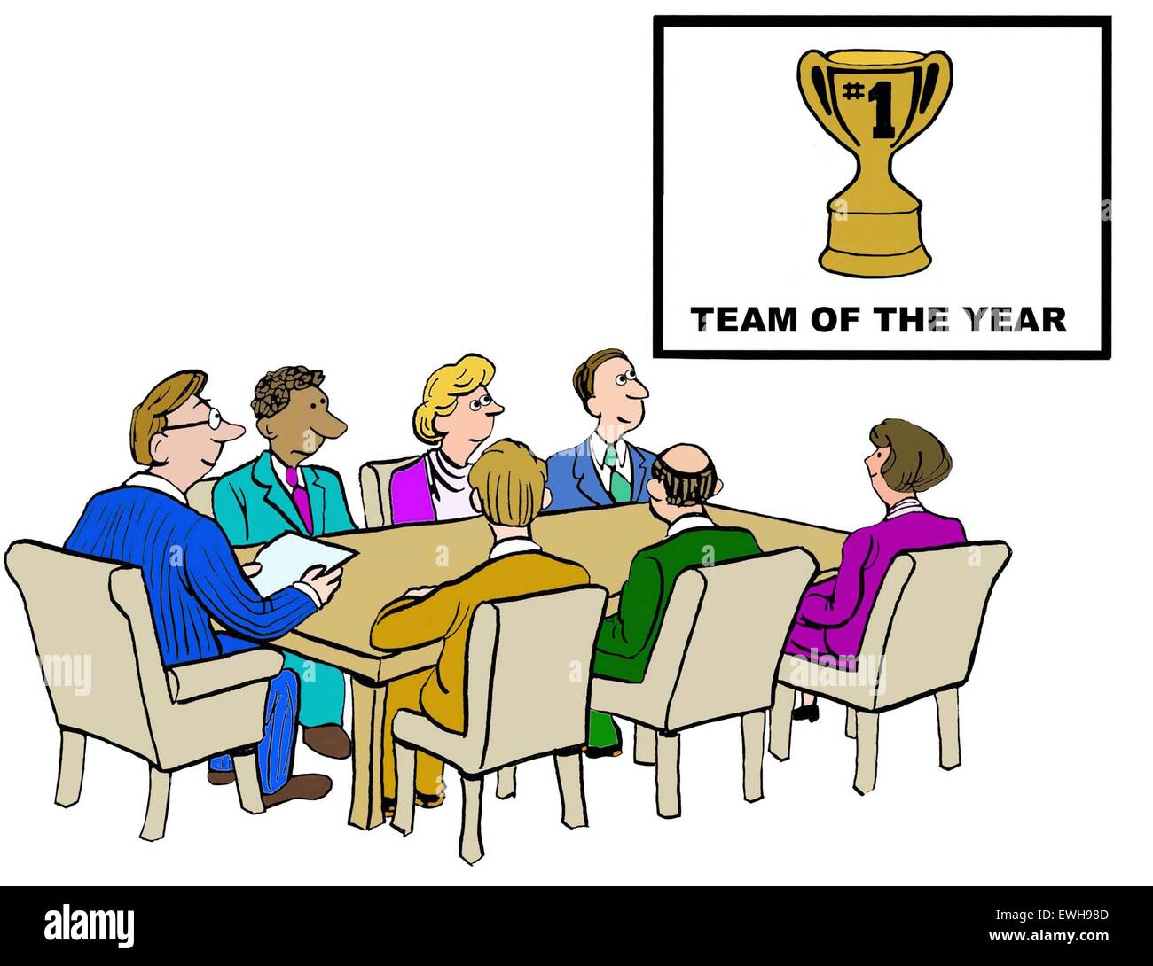 business cartoon of meeting and chart that reads team of the year
