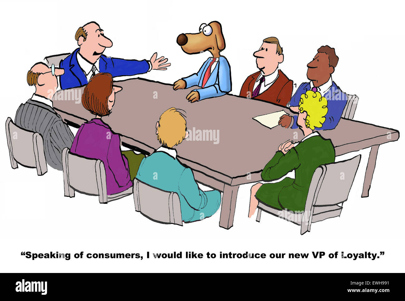 business cartoon of meeting and leader pointing to business dog and