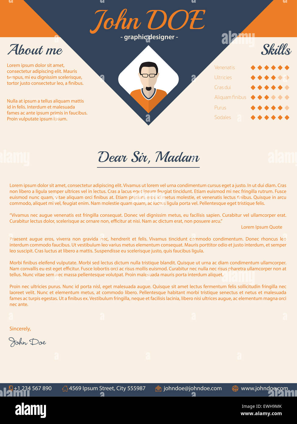 Blue Arrow Cover Letter Cv Resume Template Design Stock Photo