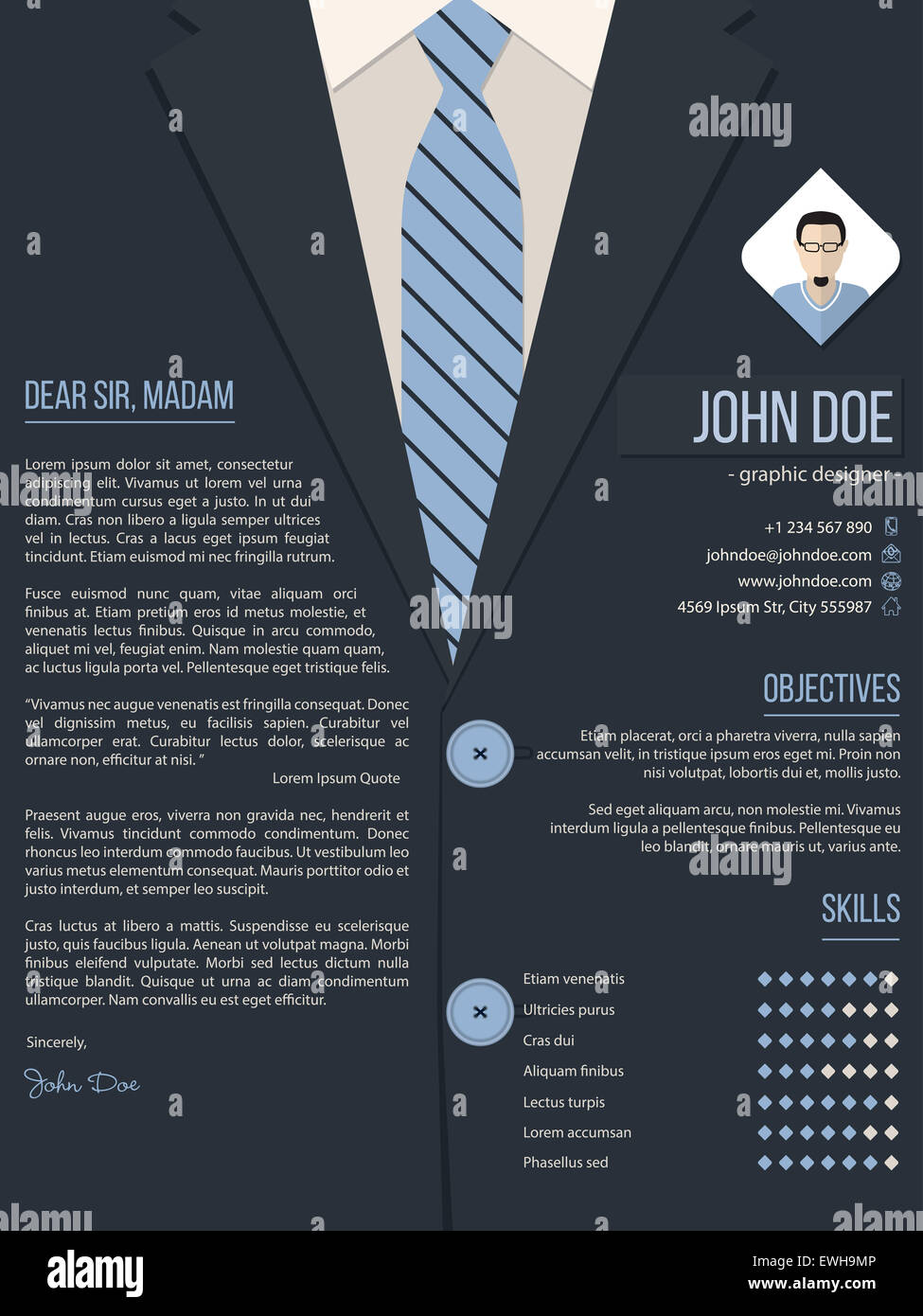 Cool Cover Letter Resume Cv Template Design With Business Suit Stock