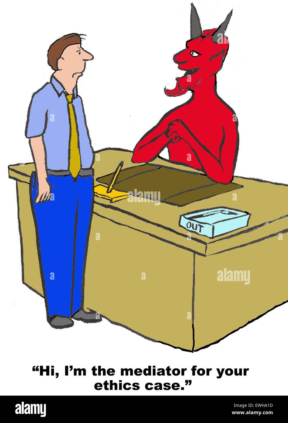 Business cartoon of devil saying to businessman, 'Hi, I'm the mediator for your ethics case'. - Stock Image