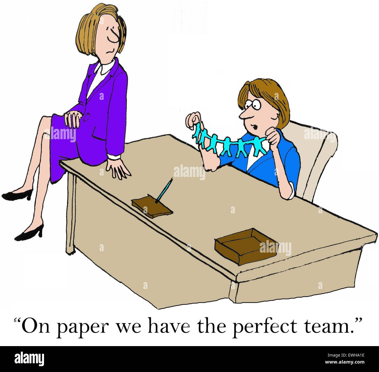 Business Cartoon Of Two Businesswomen One Says On Paper We Have