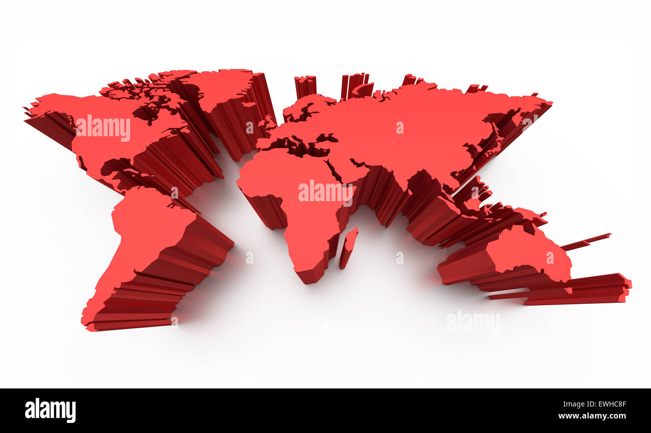 Blank world map red colored with raised edges isolated on white blank world map red colored with raised edges isolated on white gumiabroncs Choice Image