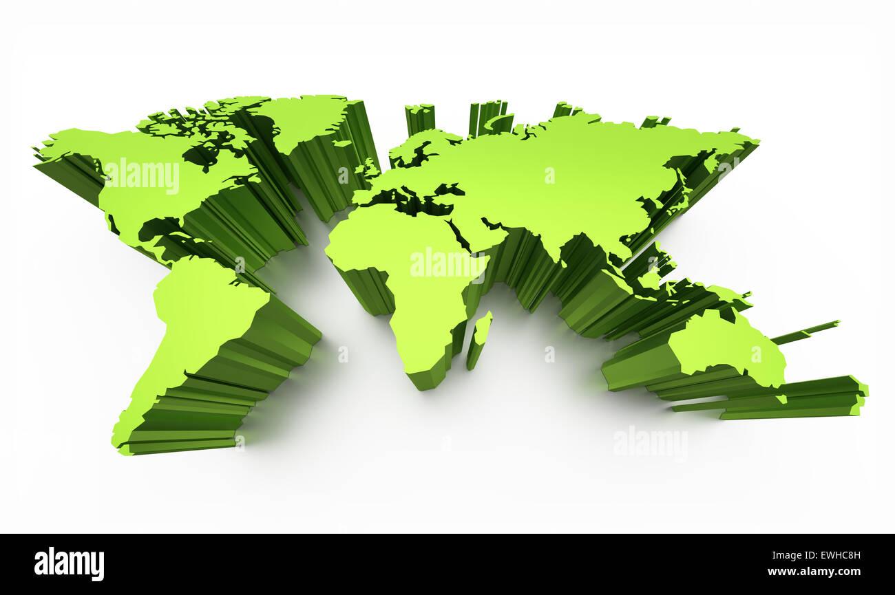 Flat world map stock photos flat world map stock images alamy blank world map green colored with raised edges isolated on white stock image gumiabroncs Choice Image