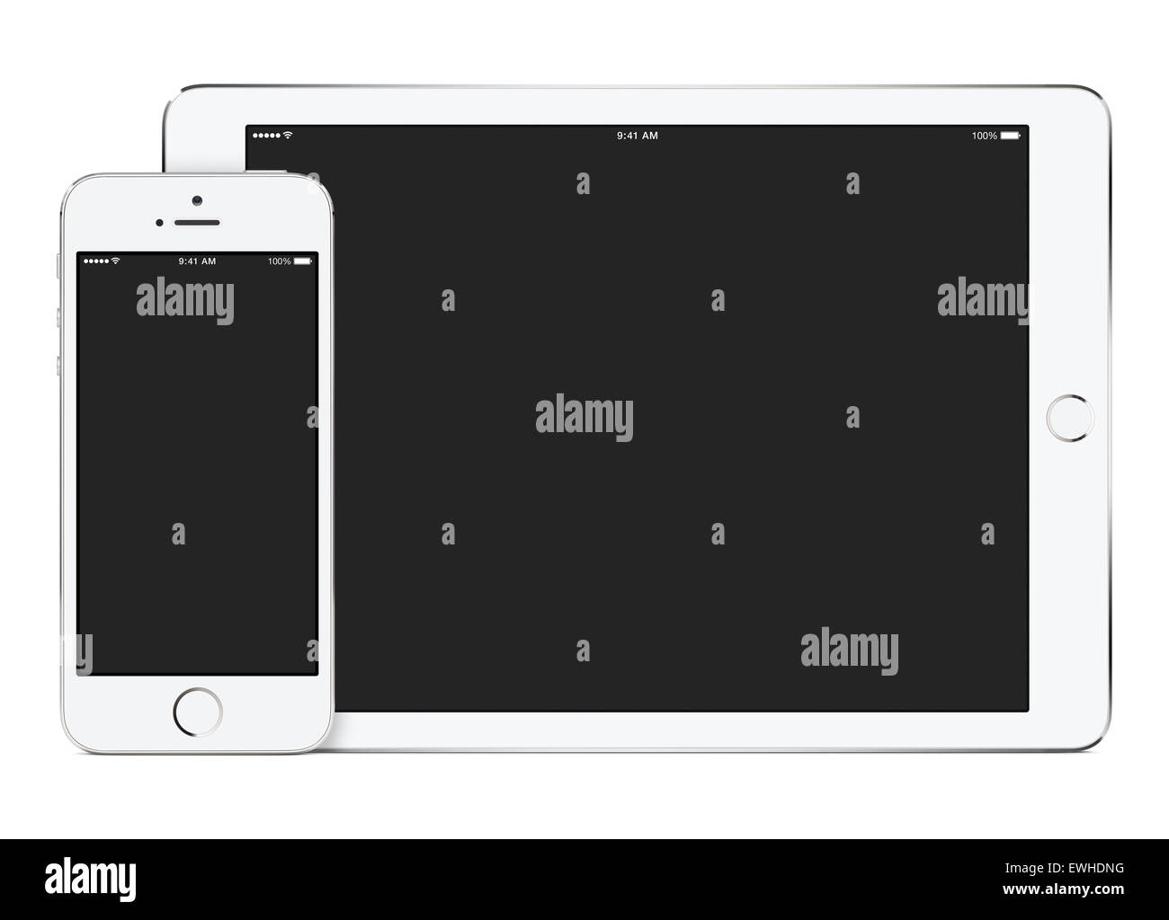 White tablet computer in landscape orientation and smartphone in portrait orientation template for adaptive design - Stock Image