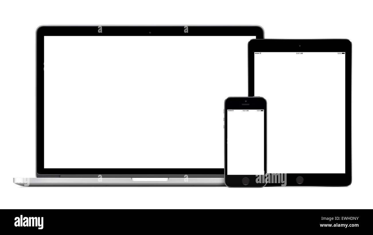 Set Of Modern Technology Devices Template For Responsive Design