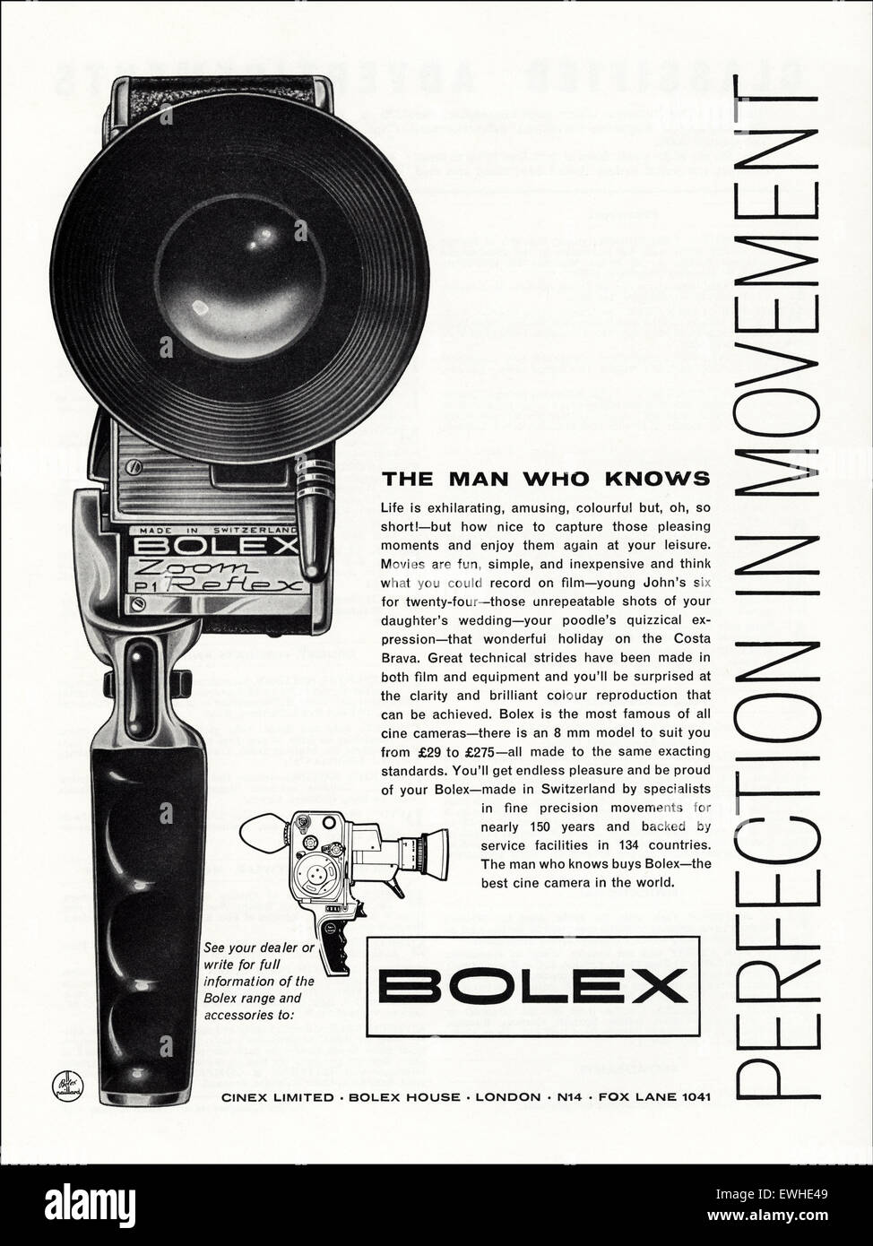 1960s advertisement circa 1962 magazine advert for Bolex cine cameras - Stock Image