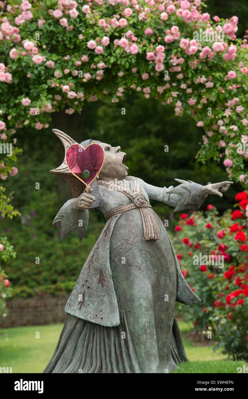 Queen of hearts statue at an Alice in Wonderland event at RHS Wisley ...