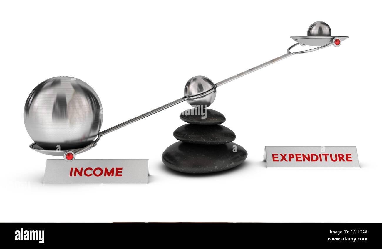 Two spheres with different sizes on a seesaw with the words income and expenditure over white background, profit Stock Photo