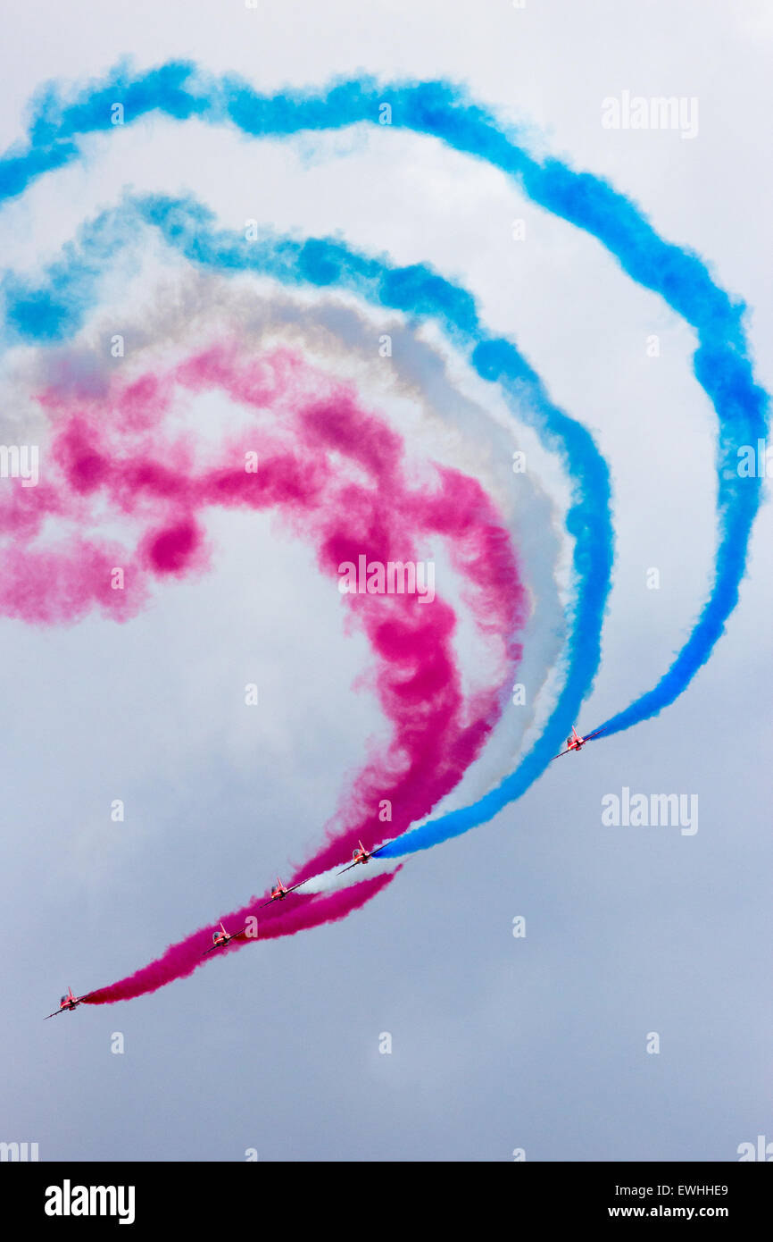RAF airshow demonstration team Red Arrows performing at the Dutch Air Force Open Days. - Stock Image