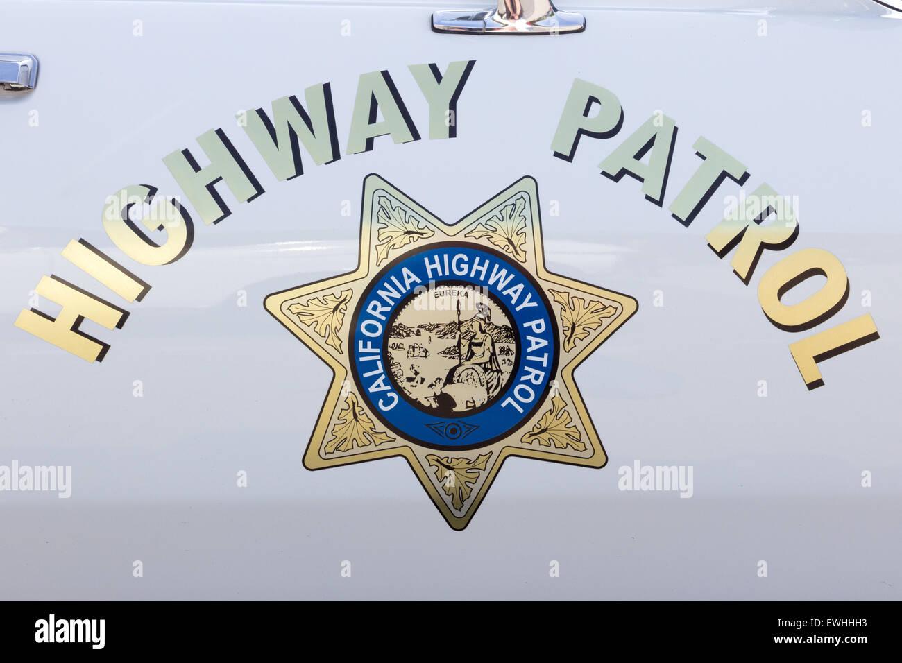 California Highway Patrol badge on a vintage US police car. Stock Photo
