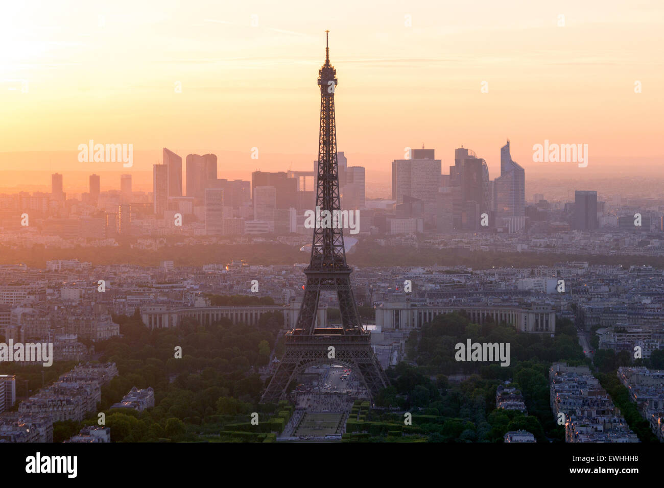 View on the Eiffel tower and the skyline of Paris, France - Stock Image