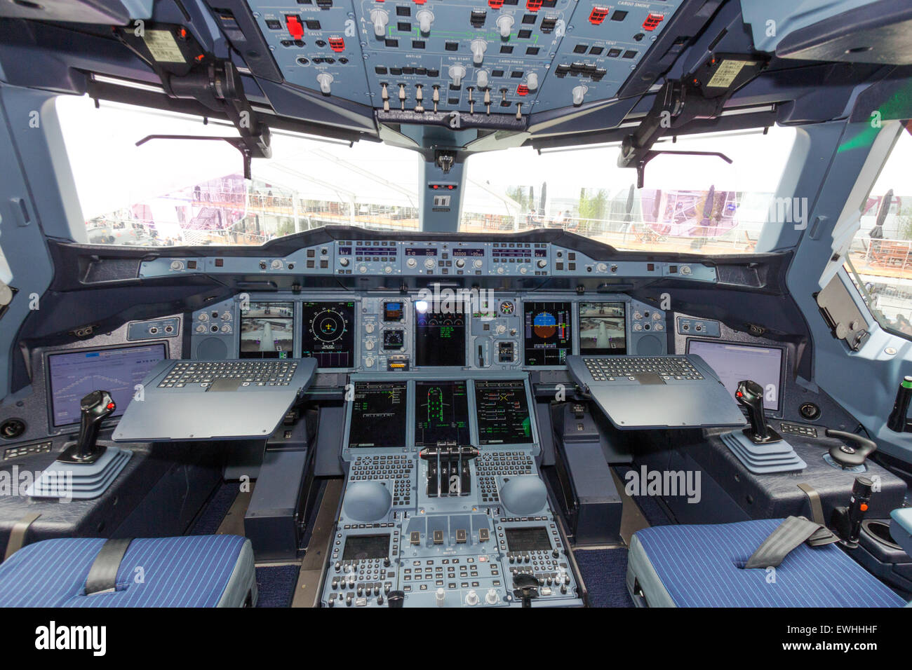 Airbus A380 cockpit. The A380 is the largest passenger airliner in the world. - Stock Image