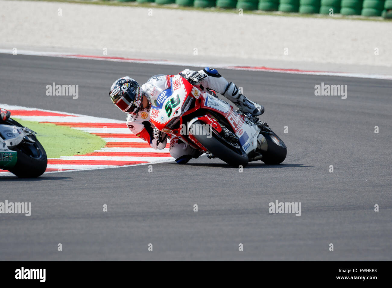 Misano Adriatico, Italy - June 20, 2015: Ducati Panigale R of Althea Racing Team, driven by CANEPA Niccolò Stock Photo