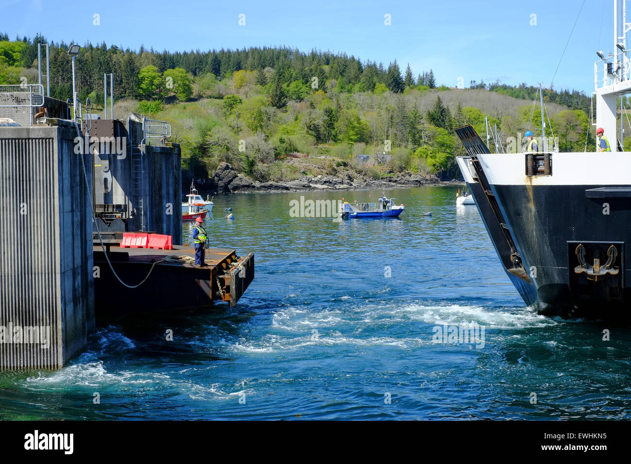Isle of Skye, Scotland. The ferry from Mallaig docking at Skye - Stock Image