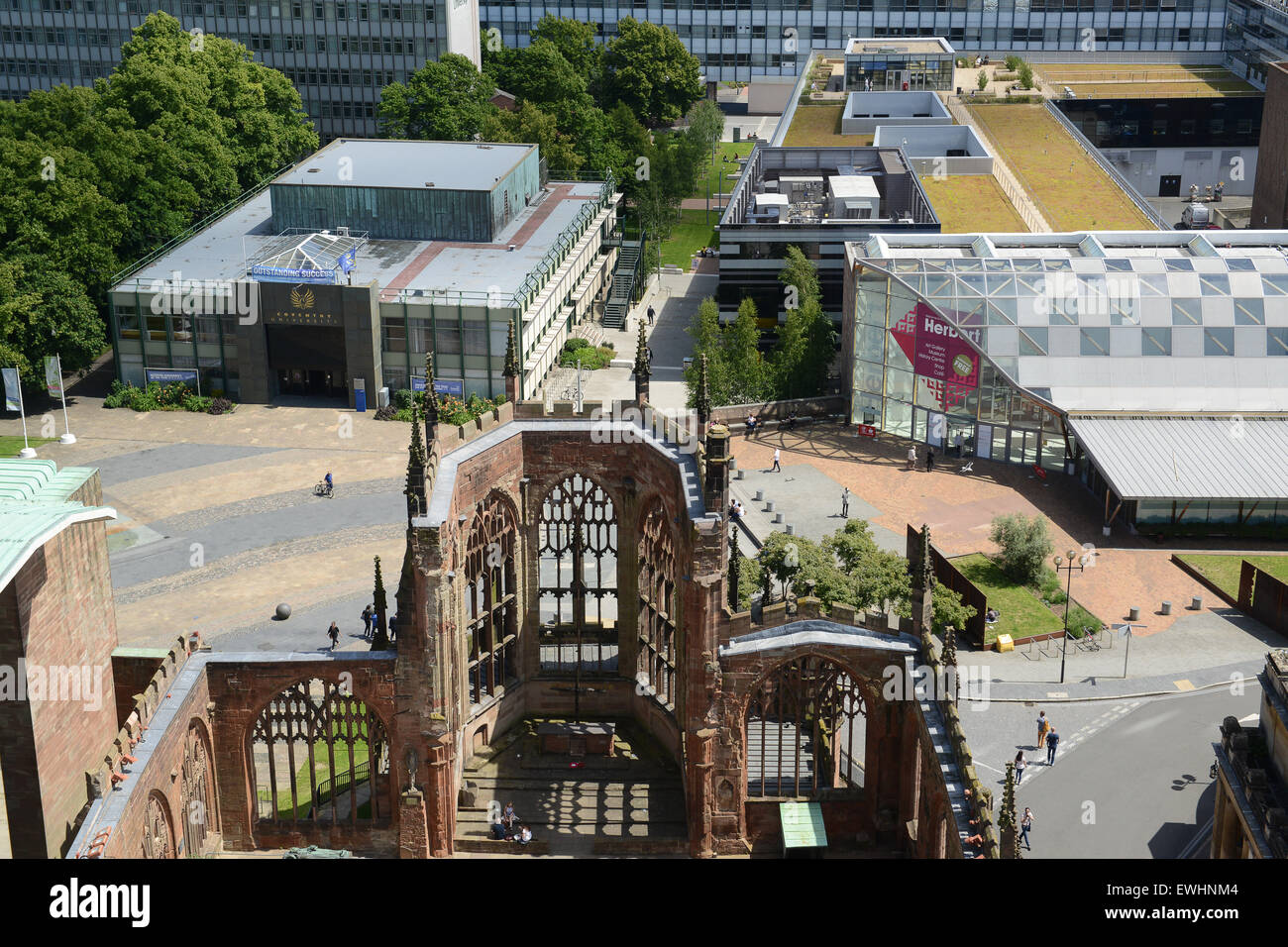 Coventry Cathedral ruins and University England UK - Stock Image