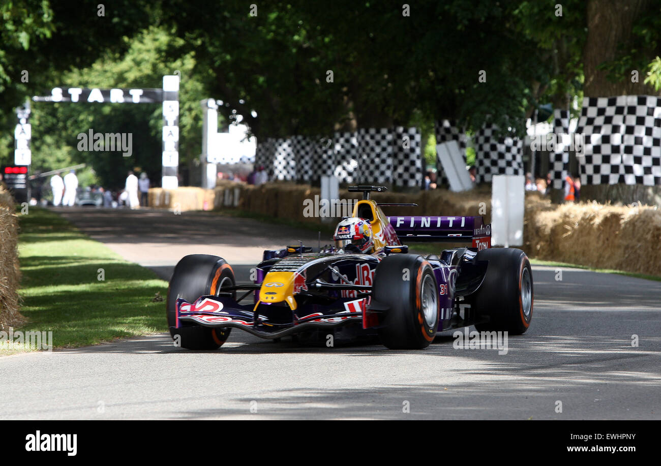 Goodwood, West Sussex, UK. 26th June, 2015. Red Bull Formula 1 car leaves the start line at Goodwood Festival of - Stock Image