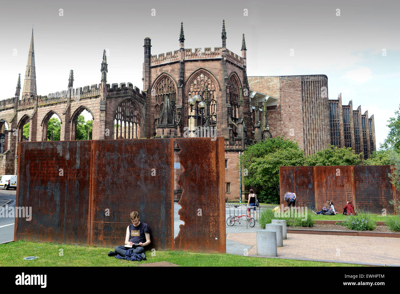 Coventry Cathedral ruins and rust and steel from the Herbert Art Gallery UK - Stock Image