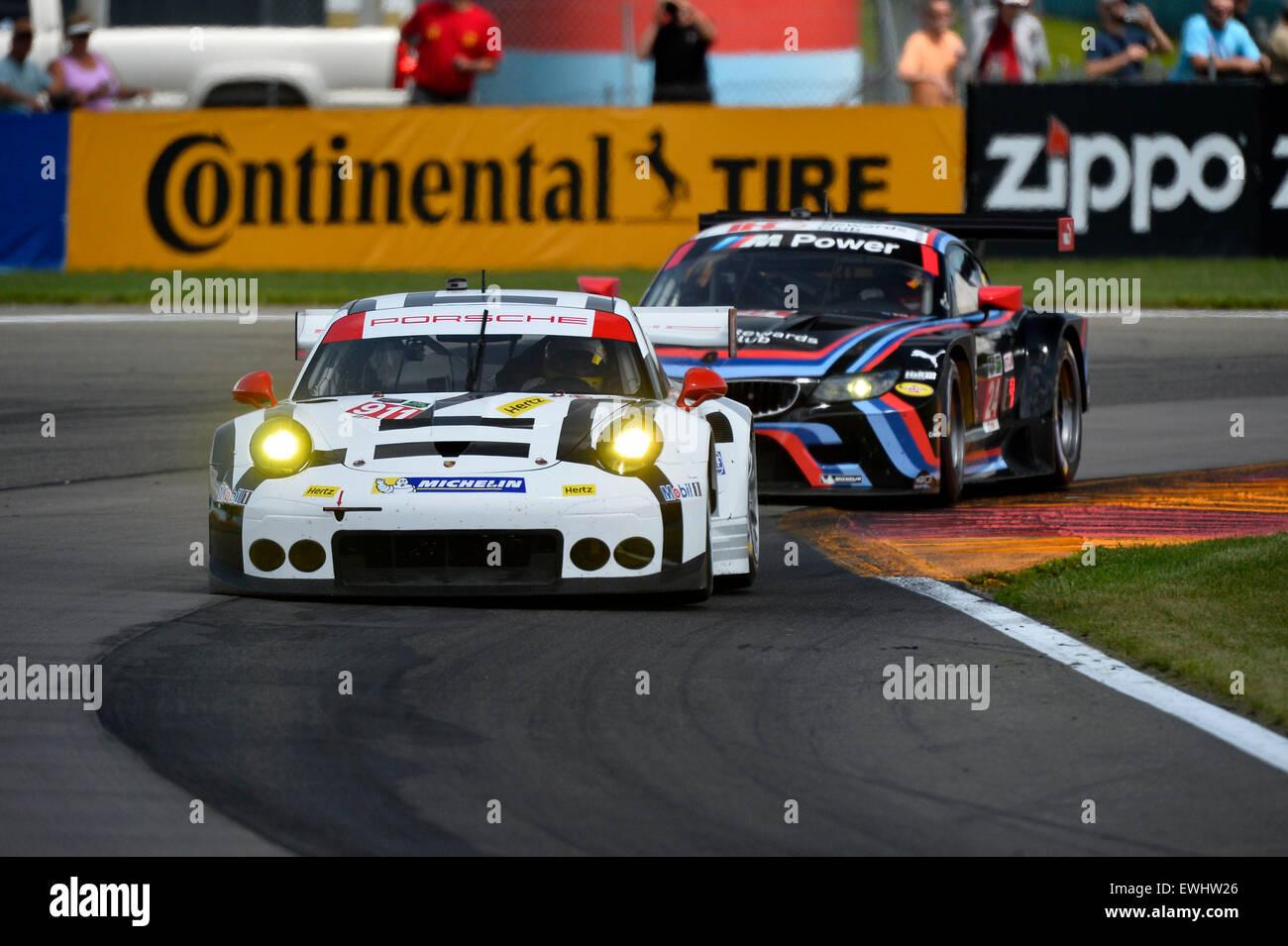 March 14, 2015 - Watkins Glen, NY, U.S. - Watkins Glen, NY - Jun 26, 2015: The Porsche North America races through Stock Photo
