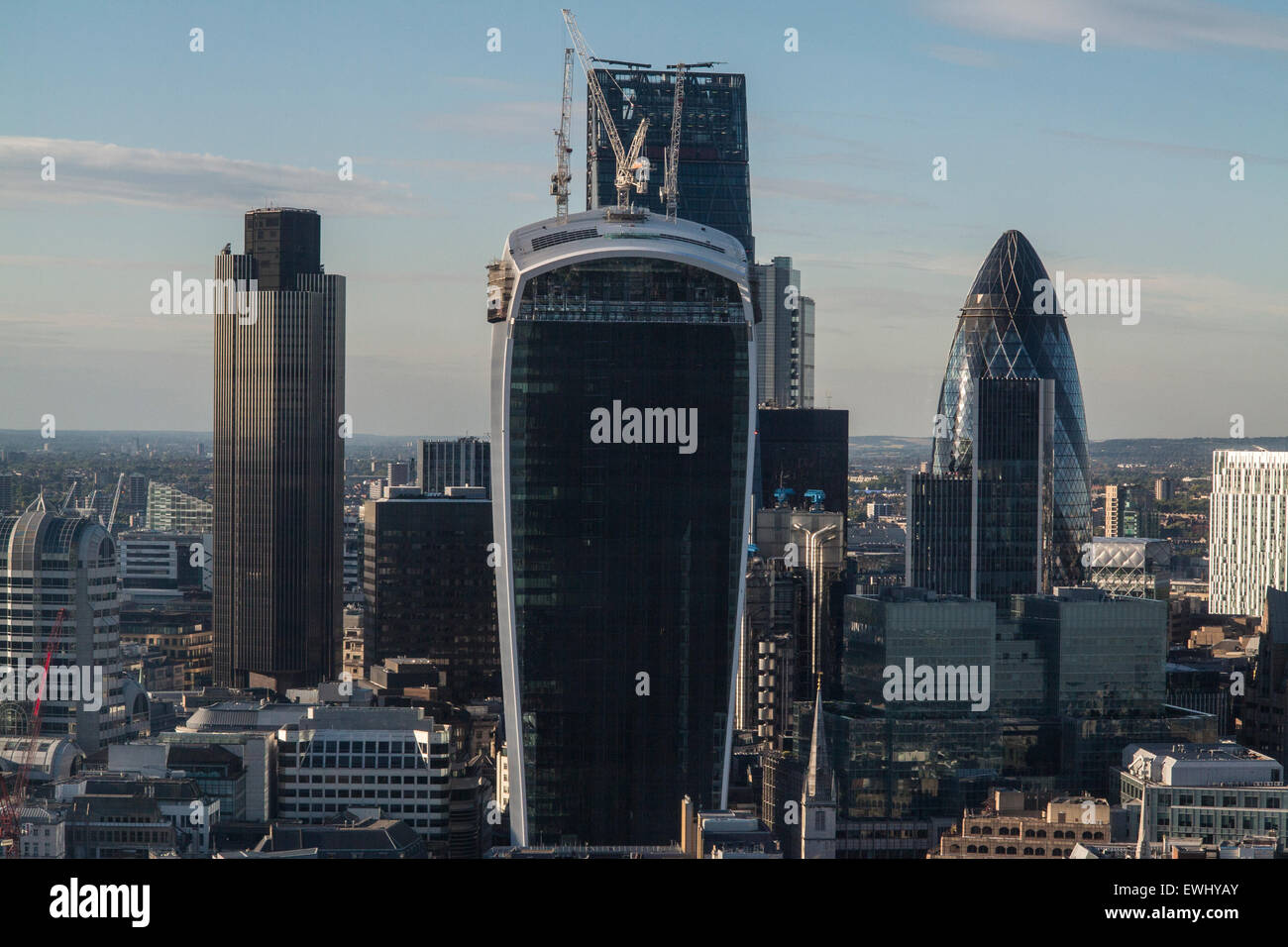 A view over the City of London square mile with the Gherkin, Cheesegrater, Nat West Tower and key landmarks on the - Stock Image