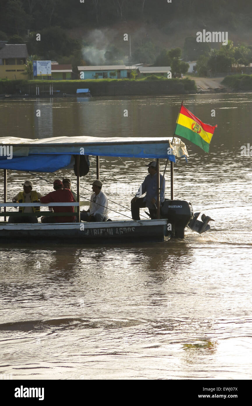 Rurrenabaque, Bolivia - MAY 12: wooden boats in Beni River on May 12, 2015 in Beni Region, Bolivia. The rivers are Stock Photo
