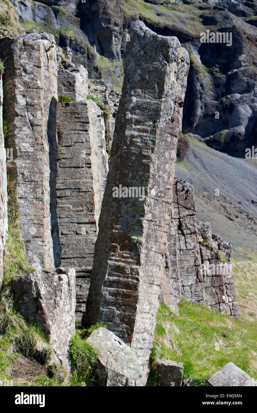 Dverghamrar dwarf rocks volcanic basalt columns Iceland - Stock Image