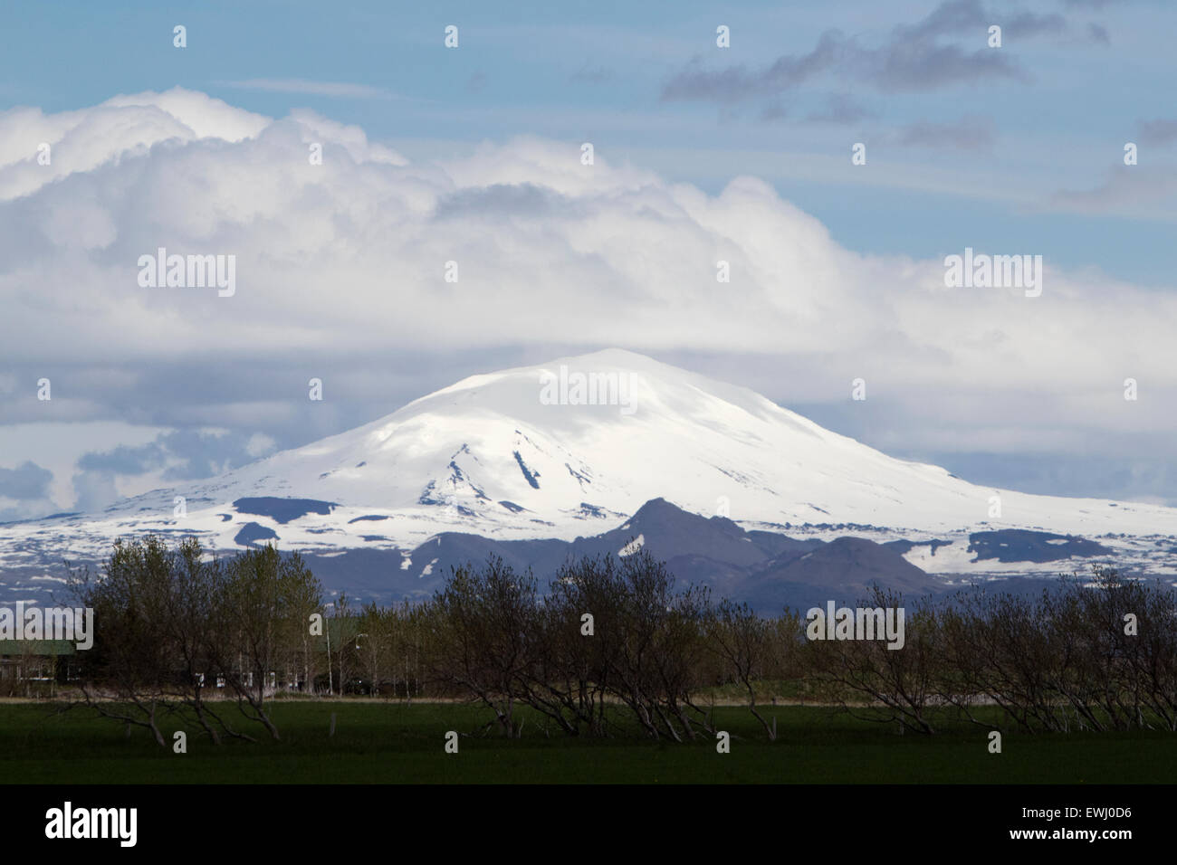 snow capped hekla stratovolcano volcano in southern Iceland - Stock Image