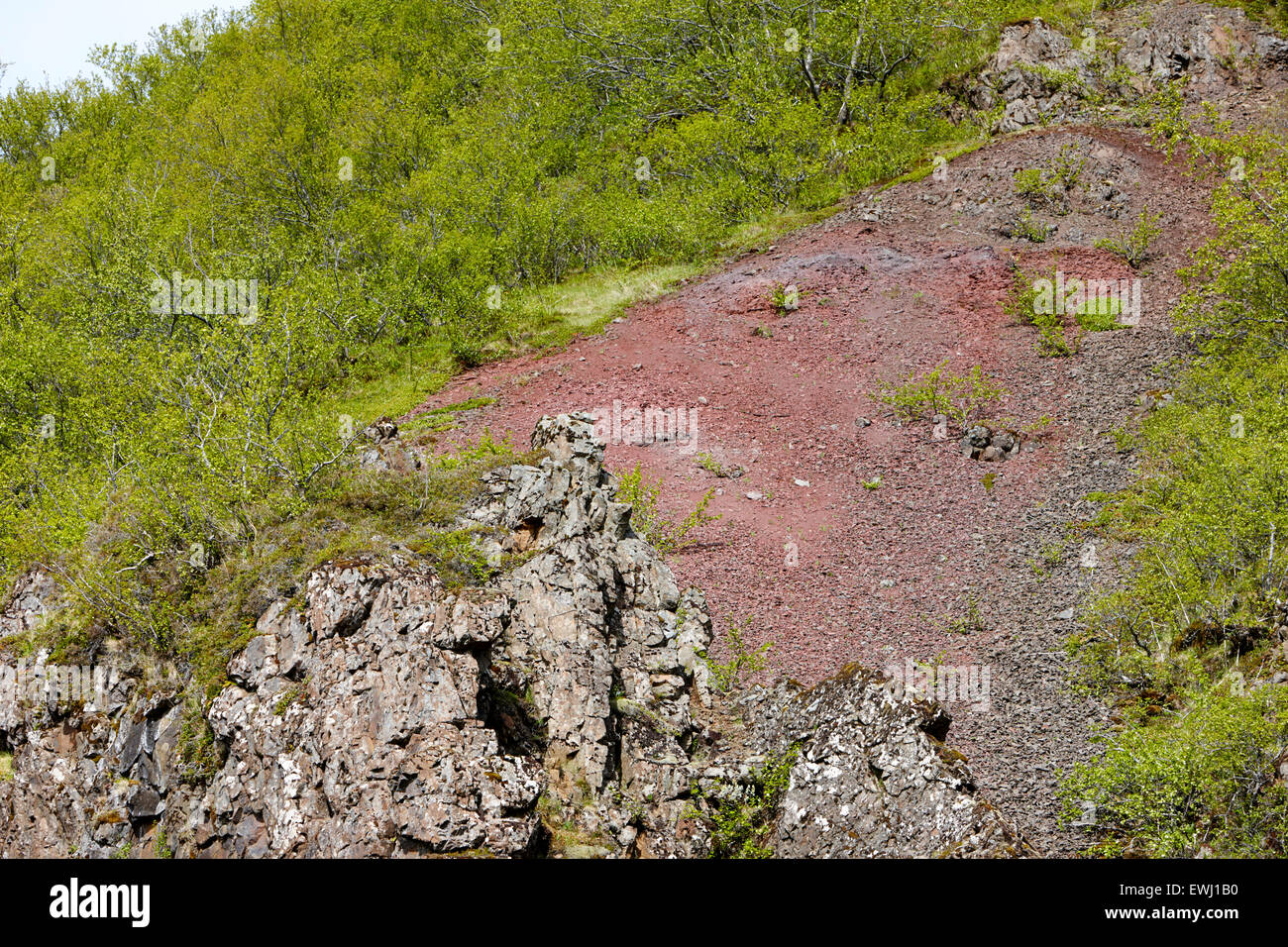 red stratum layer iron oxidisation soil Iceland - Stock Image